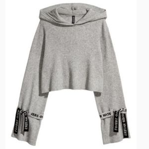 Divided Lovers Over Haters Cropped Hooded Sweater